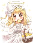 1girl :o angel_wings basket blonde_hair bow brown_eyes cookie dress eyebrows_visible_through_hair feathered_wings flower food halo hat head_wreath highres lace mini_hat mini_top_hat neko_satou open_mouth original puffy_short_sleeves puffy_sleeves ribbon short_sleeves short_twintails solo star-shaped_food star_(symbol) top_hat twintails white_background white_bow white_dress white_flower white_headwear white_ribbon white_wings wings