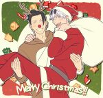 2boys :d ^_^ animal_costume antlers bangs bell black_hair blue_eyes carrying closed_eyes ear_piercing english_text eyewear_on_head feet_out_of_frame grin hair_bun hair_pulled_back hat highres holding holding_sack jujutsu_kaisen looking_at_viewer male_focus multiple_boys open_mouth pants piercing princess_carry profile red_headwear red_nose red_pants red_shirt reindeer_antlers reindeer_costume round_eyewear sack santa_costume santa_hat shirt short_hair smile sunglasses upper_body upper_teeth vugtidybi white_hair