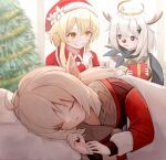 3girls ahoge antlers bangs blanket blonde_hair blue_eyes blue_scarf christmas christmas_tree closed_eyes commentary_request dress ebiry_fy fake_facial_hair fake_mustache finger_to_mouth flower fur-trimmed_headwear garland_(decoration) genshin_impact gift hair_between_eyes hair_ornament halo hat hat_flower highres holding holding_gift indoors klee_(genshin_impact) low_twintails lumine_(genshin_impact) lying multiple_girls nervous on_side ornament paimon_(genshin_impact) partial_commentary pillow pointy_ears red_dress red_nose reindeer_antlers santa_costume santa_hat scarf short_hair short_hair_with_long_locks sidelocks sleeping twintails upper_body white_hair yellow_eyes