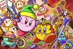 3boys @_@ backwards_hat bandana baseball_cap baton beanie blue_eyes blush_stickers bobblehat boom_microphone bow bowtie channel_ppp commentary_request copy_ability gooey hair_bow hat headphones king_dedede kirby kirby_(series) kirby_fighters_2 luchador_mask magolor mallet meta_knight microphone multiple_boys no_humans official_art polearm red_neckwear rope shimenawa spear sword tongue tongue_out twintails video_camera waddle_dee weapon wig yellow_eyes yo-yo zunglasses