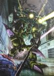 ball_(gundam) big_zam from_above glowing glowing_eyes gundam highres laser looking_down mecha mobile_suit_gundam no_arms no_humans one-eyed pink_eyes science_fiction solo teraoka_iwao walking zeon
