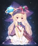 1girl bangs black_legwear blonde_hair bow brooch brown_eyes cape commentary_request dress eyebrows_visible_through_hair full_body hair_between_eyes hat hat_bow highres jewelry little_witch_nobeta long_hair looking_at_viewer no_shoes nobeta orb parted_lips pink_cape purple_cape purple_headwear shizukawashi_sumi sitting solo staff striped striped_bow thigh-highs very_long_hair wariza white_dress