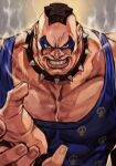 1boy abigail_(final_fight) angry armlet black_hair blue_shirt clenched_teeth collar collarbone face facepaint final_fight hand_up hungry_clicker mohawk muscular nose palms shirt spiked_collar spikes street_fighter street_fighter_v strong tank_top teeth