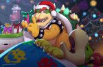 2boys balloon bowser bowser_jr. candy candy_cane christmas christmas_tree father_and_son finger_to_mouth food gift gonzarez hat koopa_clown_car mario_(series) multiple_boys nintendo santa_hat shushing sleeping super_bell