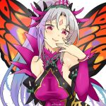 1girl breasts fairy_wings fire_emblem fire_emblem_heroes grey_hair long_hair parted_lips plumeria_(fire_emblem) ponytail red_eyes simple_background solo twitter_username upper_body white_background wings yukia_(firstaid0)