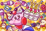anniversary ball balloon_animal beanie blue_headwear blush_stickers boom_microphone bow bowtie cake channel_ppp clown_acrobot commentary_request copy_ability food hat headphones heart juggling juggling_club kirby kirby_(series) looking_at_viewer magolor meta_knight microphone no_humans notepad official_art orange_background outline red_neckwear simple_background smile waddle_dee white_outline