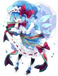 1girl adapted_costume bangs black_legwear blue_capelet blue_dress blue_eyes blue_hair blue_headwear bow bowtie capelet cirno commentary detached_wings dress full_body fur_trim hand_on_hip hat hat_bow highres holding holding_sack ice ice_wings leaning_forward long_sleeves nikorashi-ka open_mouth pantyhose red_bow red_neckwear sack santa_hat shoe_bow shoes short_hair solo star_(symbol) symbol_commentary touhou upper_teeth white_background white_bow wings