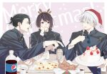 1girl 2boys :q antlers bangs beer_can black_eyes black_hair black_jacket blue_eyes bottle bucket cake can chicken_leg cigarette cup ear_piercing english_text eyebrows_visible_through_hair food fork gakuran getou_suguru gojou_satoru hair_between_eyes hair_bun hair_pulled_back hat head_rest high_collar highres holding holding_fork holding_plate ieiri_shoko jacket jujutsu_kaisen long_sleeves looking_at_another merry_christmas mouth_hold multiple_boys open_mouth pepsi piercing pizza plate profile red_headwear reindeer_antlers santa_hat school_uniform short_hair star_(symbol) tongue tongue_out u_(r_k_g_k) violet_eyes white_hair