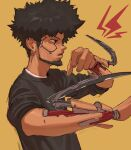 1boy afro arm_blade beard black_shirt cyberpunk cyberpunk_2077 cyborg edpan english_commentary facial_hair from_side gacha highres lightning_bolt looking_ahead parted_lips red_eyes science_fiction shirt solo t-shirt weapon yellow_background