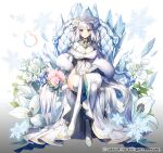 1girl apple_caramel bangs blush brooch company_name crossed_legs crystal flower full_body gloves gradient gradient_background ice jewelry lily_(flower) long_hair official_art silver_hair simple_background sitting smile snowflakes thigh-highs throne tiara white_gloves white_legwear