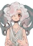 1other androgynous bright_pupils choker closed_mouth elephant_ears fingernails grey_hair hair_over_one_eye highres looking_at_viewer medium_hair one_eye_covered original red_eyes robe shima_(wansyon144) simple_background tooth_necklace tusks upper_body white_background white_pupils