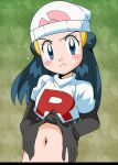 1girl alternate_costume beanie blue_eyes blue_hair blush breasts closed_mouth cosplay dawn_(pokemon) elbow_gloves gloves hainchu hair_ornament hat jessie_(pokemon) jessie_(pokemon)_(cosplay) long_hair looking_at_viewer midriff navel pokemon pokemon_(game) pokemon_dppt small_breasts solo team_rocket