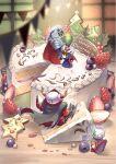 artist_name axe blueberry cake cape chibi food fruit gm_(mobile_suit) gundam haguma_karasu holding holding_axe holding_food holding_fruit horns knight_gundam looking_back mecha no_humans sd_gundam sd_gundam_gaiden strawberry_shortcake v-fin