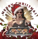 1boy absurdres amo9612 beard black_hair black_tank_top christmas cyberpunk cyberpunk_2077 facial_hair flower gingerbread_cookie hat highres incoming_food johnny_silverhand_(cyberpunk_2077) long_hair male_focus merry_christmas muscular muscular_male mustache pectorals prosthesis prosthetic_arm rose santa_costume santa_hat solo stubble sunglasses tank_top upper_body