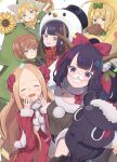 1boy 5girls :d abigail_williams_(fate/grand_order) ahoge animal artoria_pendragon_(all) bangs bell blonde_hair blue_eyes blush boned_meat bow braid brown_hair christmas_tree_costume closed_eyes commentary_request crown_braid crying dress eating facing_viewer fake_facial_hair fake_mustache fate/grand_order fate/requiem fate_(series) flower food forehead fur-trimmed_headwear fur-trimmed_sleeves fur_trim green_bow green_shirt grey_eyes grin hair_bell hair_bow hair_ornament hair_rings hands_up hat highres jingle_bell katsushika_hokusai_(fate/grand_order) katsushika_hokusai_(swimsuit_saber)_(fate) long_hair long_sleeves looking_at_viewer meat multiple_girls mysterious_heroine_xx_(foreigner) octopus open_mouth outstretched_arms parted_bangs purple_hair red_dress red_headwear santa_costume santa_hat shirt short_sleeves sleeves_past_wrists smile snowman_costume sunflower tears tokitarou_(fate/grand_order) totatokeke van_gogh_(fate) very_long_hair violet_eyes voyager_(fate/requiem) white_background yang_guifei_(fate/grand_order) yellow_flower