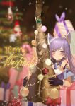 1girl absurdres bare_shoulders black_legwear bound box christmas christmas_lights christmas_ornaments christmas_tree dress feet genshin_impact gift gift_box gloves hat highres keqing legs_up looking_at_viewer pantyhose purple_hair santa_hat tied_up twintails violet_eyes