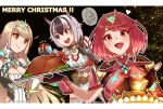 3girls blonde_hair breasts crossette_(xenoblade) food hey_cre highres large_breasts long_hair multicolored_hair multiple_girls mythra_(xenoblade) pyra_(xenoblade) red_eyes redhead short_hair turkey_(food) xenoblade_chronicles_(series) xenoblade_chronicles_2
