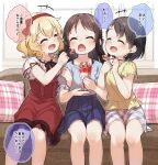 +++ 3girls :d ^_^ bangs black_hair blonde_hair blue_shirt blue_skirt blush bow bunny_hair_ornament closed_eyes commentary_request couch dress eyebrows_visible_through_hair feeding feet_out_of_frame food fruit girl_sandwich hair_bow hair_ornament hairband hairclip highres holding holding_spoon idolmaster idolmaster_cinderella_girls indoors locked_arms long_hair multiple_girls on_couch open_mouth parfait plaid plaid_pillow plaid_skirt pleated_skirt puffy_short_sleeves puffy_sleeves red_bow red_dress red_hairband sakurai_momoka sandwiched sasaki_chie shirt short_sleeves sitting skirt smile spoon strawberry tachibana_arisu translation_request white_shirt white_skirt yellow_shirt yukie_(kusaka_shi)