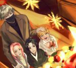 1girl 3boys :d absurdres aqua_eyes bangs black_eyes black_hair black_jacket black_mask blonde_hair brown_jacket casual christmas_tree commentary_request contemporary eyebrows_behind_hair from_above green_eyes hand_on_another's_head haruno_sakura hatake_kakashi highres jacket long_hair looking_up mask mouth_mask multiple_boys naruto naruto_(series) open_mouth parted_bangs parted_lips pink_hair shirt short_hair silver_hair smile sparkle spiky_hair standing suit_jacket tile_floor tiles ttebayong uchiha_sasuke uzumaki_naruto white_shirt younger
