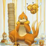 bottle buizel cake combee cup eating food food_on_body fur guodon honey milk milk_bottle multiple_tails no_humans pancake pokemon pokemon_(creature) pudding simple_background smile swiss_roll tail white_background wings