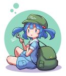 1girl artist_name backpack bag bangs blue_eyes blue_hair blue_shirt blue_shorts blush circle commentary dated dated_commentary english_commentary eyebrows_visible_through_hair from_side full_body green_bag green_headwear hair_bobbles hair_ornament hand_up hat holding holding_strap holding_wrench kawashiro_nitori open_mouth pocket puffy_short_sleeves puffy_sleeves shirt short_hair short_sleeves shorts signature simple_background sitting solo thighs touhou triangle_mouth two_side_up umenodo white_background wrench