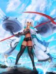 1girl absurdres alabama_(azur_lane) artillery azur_lane black_footwear black_gloves black_legwear black_shorts blue_sky breasts coat elbow_gloves facial_tattoo full_body gloves highres holding holding_scythe large_breasts long_hair micro_shorts open_clothes open_coat red_eyes rideth_mochi rigging scythe shorts skindentation sky solo tan tattoo thigh-highs turret twintails water white_coat white_hair