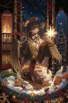 1boy artist_name brown_eyes brown_gloves brown_hair brown_headwear christmas christmas_tree coat fire fireplace gift gloves highres indoors mizutame_tori monocle original pince-nez short_hair snow standing wide_sleeves