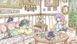 2girls ahoge animal_on_lap ankle_socks aqua_hair bear bird black_headwear black_legwear blue_flower blue_rose blue_shirt book bookshelf bottle bowl box bug butterfly carpet cat chair chess_piece chessboard clock coffee_table commentary couch cup cupboard curtains dragonfly dried_flower duck floral_print flower foot_out_of_frame fox frilled_sleeves frills from_side green_eyes green_skirt hair_ornament hairband hat hat_ribbon heart heart_hair_ornament heart_of_string heart_pillow highres indoors insect kaenbyou_rin kaenbyou_rin_(cat) komeiji_koishi komeiji_satori lamp leg_lift living_room long_sleeves looking_at_another lying manga_(object) mirror multiple_girls no_shoes on_couch on_stomach open_book painting_(object) picture_(object) picture_frame pillow pink_footwear pink_skirt planetary_ring plant potted_plant purple_hair raven_(animal) reiuji_utsuho reiuji_utsuho_(bird) ribbon rose saucer shirt short_hair siblings sisters sitting skirt slippers snail teacup teapot teaspoon thigh-highs third_eye touhou violet_eyes white_legwear wide_shot wide_sleeves yellow_shirt ys_(ytoskyoku-57)