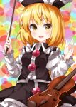 1girl :d black_dress black_headwear blonde_hair blush breasts bubble_background commentary_request cowboy_shot dress eyebrows_visible_through_hair hair_between_eyes hat highres instrument looking_at_viewer lunasa_prismriver multicolored multicolored_background open_mouth ruu_(tksymkw) short_hair small_breasts smile solo touhou violin violin_bow yellow_eyes