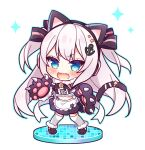 1girl anchor_hair_ornament animal_ears apron azur_lane bangs black_footwear black_gloves black_skirt blue_eyes blue_outline blush cat_ears cat_tail chibi commentary_request crop_top eyebrows_visible_through_hair fake_animal_ears fang full_body fur-trimmed_gloves fur_trim gloves hair_ornament hammann_(azur_lane) long_hair looking_at_viewer midriff navel open_mouth outline paw_gloves paws pleated_skirt ryuuka_sane silver_hair skirt solo sparkle standing sweat tail tail_raised thigh-highs two_side_up v-shaped_eyebrows very_long_hair waist_apron wavy_mouth white_apron white_background white_legwear