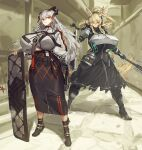 alternate_breast_size animal_ears arknights armor black_footwear black_shirt black_skirt blonde_hair boots breastplate breasts clenched_teeth closed_mouth commentary day dragon_horns dragon_tail ear_piercing earpiece eyebrows_visible_through_hair feathers fighting_stance full_body grey_shirt gun hair_between_eyes headphones high_heel_boots high_heels highres holding holding_gun holding_shield holding_weapon horns horse_ears huge_breasts long_hair long_skirt looking_at_viewer looking_to_the_side mace melon22 nearl_(arknights) orange_eyes outdoors piercing ponytail saria_(arknights) shield shirt shoulder_armor shrug_(clothing) silver_hair skirt standing strap syringe_gun tail teeth torn_clothes torn_skirt weapon
