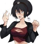 1girl avatar:_the_last_airbender avatar_(series) black_hair breasts earrings long_sleeves looking_at_viewer pointing_at_viewer rakeem_garcia-cueto red_shirt shirt shorts solo toph_bei_fong torn_clothes