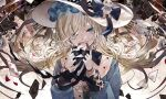 1girl arcaea black_bow black_neckwear blonde_hair blue_bow blue_eyes bow bowtie character_request chess_piece commentary_request cup gloves hair_over_one_eye hands_up hat hat_bow hat_ornament heart highres holding_playing_card king_(chess) knight_(chess) long_hair long_sleeves pawn_(chess) solo sun_hat teacup tsubaki_(yi) upper_body white_gloves white_headwear wilted_flower