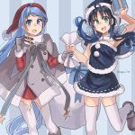 2girls black_capelet black_skirt blue_eyes blue_hair blush box brown_footwear buttons capelet christmas coat eyebrows_visible_through_hair gift gift_box gloves green_eyes grey_coat grey_gloves hat highres holding holding_gift kantai_collection long_hair multiple_girls open_mouth pom_pom_(clothes) sack samidare_(kantai_collection) santa_costume santa_hat shoes skirt smile star_(symbol) sugue_tettou suzukaze_(kantai_collection) thigh-highs twitter_username upper_teeth v-shaped_eyebrows very_long_hair white_legwear