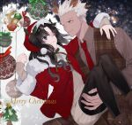 1boy 1girl alternate_costume animal_ears antlers archer artist_request black_hair blue_eyes box brown_eyes brown_shirt buttons carrying christmas christmas_ornaments christmas_tree closed_mouth commentary_request dark_skin dark_skinned_male deer_ears english_text eyebrows_visible_through_hair fake_animal_ears fate/stay_night fate_(series) fur-trimmed_headwear fur-trimmed_jacket fur-trimmed_sleeves fur_trim gift gift_box green_ribbon hand_on_another's_shoulder hat highres jacket lips long_hair long_sleeves looking_at_another merry_christmas multicolored multicolored_ribbon necktie one_eye_closed pantyhose princess_carry red_headwear red_jacket red_neckwear red_ribbon reindeer_antlers ribbed_sweater ribbon santa_costume shirt short_hair smile snowflakes snowman sweater thigh-highs tohsaka_rin two_side_up white_hair