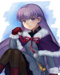 1girl absurdly_long_hair adapted_costume belly_chain black_legwear blue_background blue_dress capelet dress fire_emblem fire_emblem:_the_binding_blade gloves highres jewelry long_hair mesz410 pantyhose puffy_sleeves purple_footwear purple_hair red_gloves simple_background smile solo sophia_(fire_emblem) very_long_hair violet_eyes white_background winter_clothes