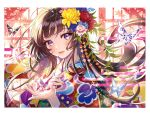 1girl absurdres bangs blush brown_hair eyebrows_visible_through_hair eyelashes eyeshadow fingernails floral_print flower hair_ornament hand_on_own_chest head_tilt highres holding japanese_clothes kimono light_smile lips long_hair looking_at_viewer makeup morikura_en nail_polish origami original parted_lips scan shiny shiny_hair simple_background smile solo upper_body violet_eyes