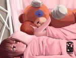 2girls 500_dollar_four_foot_tall_mareep artist_logo artist_name bangs bed bedroom blanket brown_eyes brown_hair commentary english_commentary frown girls_und_panzer half-closed_eyes highres indoors meme multiple_girls nishizumi_maho nishizumi_miho object_hug on_bed oversized_object short_hair siblings sisters sleeping stuffed_toy unamused under_covers voccu