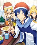 1girl 2boys animal_ears antlers arm_warmers bangs bare_shoulders bass_clef bird black_collar blonde_hair blue_eyes blue_hair blue_nails blue_scarf blush chabudai_(table) chicken christmas christmas_tree coat collar commentary cup deer_ears double_v food french_fries frown grey_collar grey_sleeves hair_ornament hairclip hat headphones headset indoors kagamine_len kagamine_rin kaito looking_at_viewer mug multiple_boys nail_polish neckerchief nokuhashi red_headwear reindeer_antlers salad santa_hat scarf shirt short_hair shoulder_tattoo sleeveless sleeveless_shirt smile spiky_hair sweat swept_bangs table tattoo treble_clef v vocaloid white_coat white_shirt yellow_neckwear