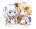 2girls :t animal_slippers bangs blonde_hair bloop_(gawr_gura) blue_eyes blue_hair blue_shorts bow box brown_footwear brown_jacket brown_skirt brown_sweater chibi christmas_tree_hat christmas_wreath closed_mouth eating eyebrows_visible_through_hair food food_in_mouth gawr_gura gift gift_box green_headwear hair_ornament hairclip hat holding holding_food hololive hololive_english jacket knees_up long_sleeves mini_hat moorina mouth_hold multicolored_hair multiple_girls no_shoes open_clothes open_jacket pleated_skirt purple_bow short_shorts shorts simple_background sitting skirt sleeves_past_wrists slippers socks star_(symbol) streaked_hair striped striped_legwear sweater tilted_headwear turtleneck turtleneck_sweater two_side_up v-shaped_eyebrows virtual_youtuber watson_amelia white_background white_hair