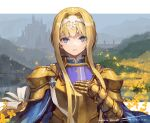 1girl alice_zuberg armor artist_name bangs blonde_hair blue_eyes bow braid chest_plate commentary_request dated gold_armor hair_bow hair_intakes hairband hand_on_own_chest hand_up highres light_smile long_hair looking_at_viewer outdoors shiny shiny_hair shoulder_plates signature smile solo suzuno_(bookshelf) sword_art_online sword_art_online:_alicization very_long_hair white_bow white_hairband