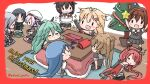 6+girls ahoge bangs blue_hair border brown_hair cake chibi christmas closed_eyes expressive_hair food gloves green_hair hair_flaps hair_ornament hair_ribbon hairband handheld_game_console harusame_(kantai_collection) hat holding indoors kantai_collection kawakaze_(kantai_collection) kotatsu long_hair lying multiple_girls murasame_(kantai_collection) nintendo_switch on_side open_mouth pink_hair poipoi_purin ponytail red_border redhead remodel_(kantai_collection) ribbon sailor_collar samidare_(kantai_collection) school_uniform serafuku shigure_(kantai_collection) shiratsuyu_(kantai_collection) short_hair sleeping sleeping_upright smile sparkle standing suzukaze_(kantai_collection) table torpedo twintails twitter_username umikaze_(kantai_collection) video_game yamakaze_(kantai_collection) yuudachi_(kantai_collection) zzz