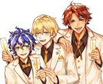 3boys ahoge alcohol astel_leda bangs blonde_hair blue_eyes blue_hair bow bowtie champagne champagne_flute collar collared_shirt cup dress_shirt drinking_glass fangs formal green_eyes hair_between_eyes handkerchief heterochromia hoja_(hoja1214) holding holding_cup holostars jacket kishido_temma lapel lapel_pin long_sleeves looking_at_viewer male_focus multicolored_hair multiple_boys necktie open_mouth redhead shirt short_hair smile suit suntempo teeth tongue transparent_background upper_body vest virtual_youtuber white_jacket white_vest yellow_bow yellow_neckwear yukoku_roberu