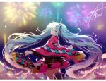 1girl aqua_eyes aqua_hair artist_name asagao_minoru bangs black_legwear black_skirt blunt_bangs blurry blurry_background bokeh commentary cowboy_shot depth_of_field fan fireworks folding_fan frilled_skirt frills from_behind hair_ornament hatsune_miku headphones holding holding_fan japanese_clothes kimono lantern long_hair looking_at_viewer looking_back magical_mirai_(vocaloid) miniskirt night open_mouth pink_sleeves pleated_skirt single_thighhigh skindentation skirt smile solo standing thigh-highs twintails very_long_hair vocaloid wide_sleeves