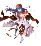 1girl alternate_costume azutarou bangs blue_eyes blue_hair book boots bracelet breasts cape dress elbow_gloves fire fire_emblem fire_emblem:_the_binding_blade fire_emblem_heroes full_body gloves hat highres holding holding_book jewelry knee_boots lilina_(fire_emblem) long_hair looking_away magic medium_breasts official_art open_mouth pantyhose pelvic_curtain red_cape shiny shiny_clothes shiny_hair skirt solo torn_cape torn_clothes torn_dress torn_legwear transparent_background white_dress white_footwear white_gloves