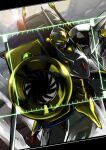 aiming_at_viewer code_geass glowing glowing_eye gun highres holding holding_gun holding_weapon knightmare_frame lancelot_(code_geass) looking_at_viewer mecha no_humans science_fiction solo stg_stg weapon