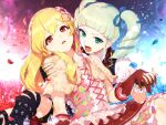 2girls aikatsu! aikatsu!_(series) black_gloves blonde_hair blue_eyes blue_flower blue_rose boots capelet chain checkered commentary_request cross-laced_footwear dress drill_hair earrings elbow_gloves fangs fingerless_gloves floral_print flower gloves hair_flower hair_ornament hair_ribbon hairband highres hitoto holding_hands hoshimiya_ichigo interlocked_fingers jewelry knee_boots long_hair multiple_girls open_mouth petals red_eyes red_flower red_rose revision ribbon rose shoulder_grab toudou_yurika twin_drills twintails vampire yuri