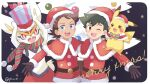 2boys :d ;d ash_ketchum bangs belt blue_eyes box brown_eyes brown_gloves brown_hair capelet christmas cinderace commentary_request eyelashes fur-trimmed_capelet fur_trim gen_1_pokemon gen_8_pokemon gift gift_box gloves goh_(pokemon) hat hatted_pokemon holding looking_at_viewer male_focus mei_(maysroom) merry_christmas multiple_boys one_eye_closed open_mouth pikachu pokemon pokemon_(anime) pokemon_(creature) pokemon_swsh_(anime) red_capelet red_headwear santa_hat scarf smile teeth tongue