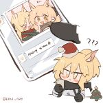 3girls ?? animal_ears arknights armor aunt_and_niece blemishine_(arknights) blonde_hair blush cellphone christmas_tree emoji english_text green_ribbon hat holding holding_phone horse_ears kyou_039 merry_christmas multiple_girls nearl_(arknights) phone ponytail ribbon santa_hat siblings sisters smartphone smile text_messaging twitter_username v-shaped_eyebrows whislash_(arknights) yellow_eyes