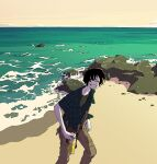 1boy bag beach black_hair bottle flat_color holding holding_bottle kawano looking_at_viewer ocean open_clothes open_shirt original plaid rock sand scenery short_hair solo teeth water waves